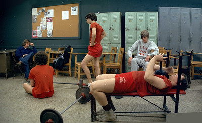 Weight training, Mr. Reilly, physics lab, track lockers. April '72 or '73.