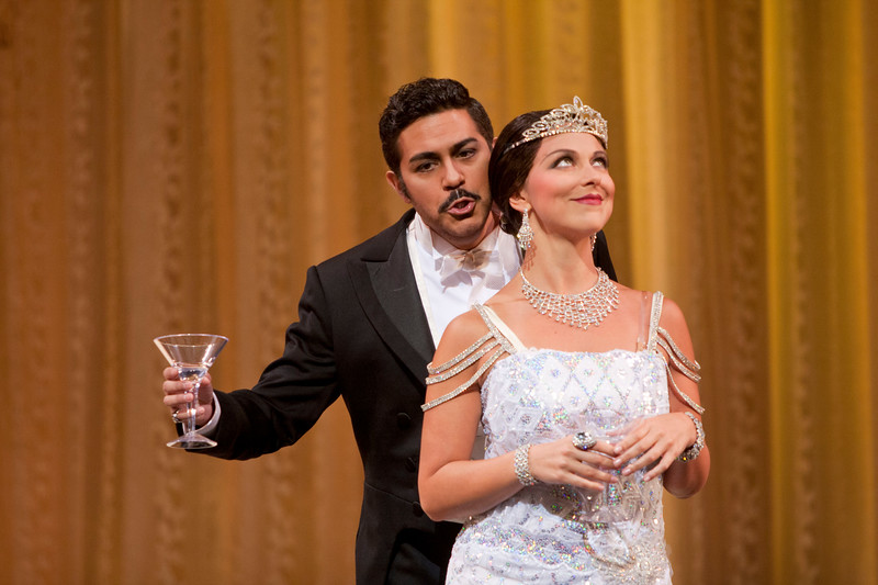 Tenor Jesús Garcia is Alfredo Germont and soprano Corinne Winters is Violetta Valéry in San Diego Opera's LA TRAVIATA. April, 2017. Photo by J. Katarzyna Woronowicz Johnson.