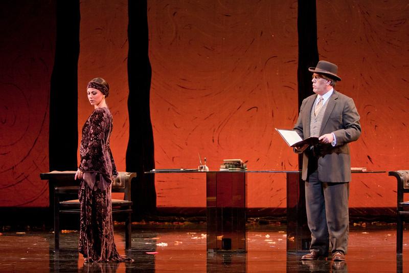 Soprano Corinne Winters is Violetta Valéry and baritone Stephen Powell is Giorgio Germont in San Diego Opera's LA TRAVIATA. April, 2017. Photo by J. Katarzyna Woronowicz Johnson.
