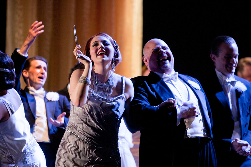 Mezzo-soprano Peabody Southwell is Flora Bervoix, bass baritone Scott Sikon is Marquis D'Obigny. and tenor Brenton Ryan is Gastone in San Diego Opera's LA TRAVIATA. April, 2017. Photo by J. Katarzyna Woronowicz Johnson.