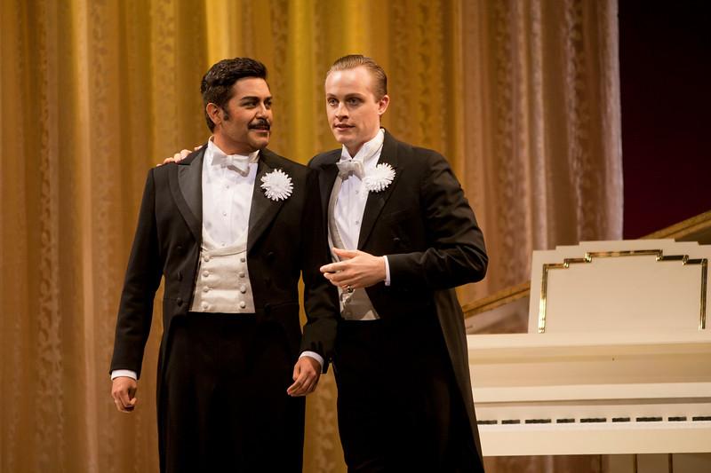 Tenor Jesús Garcia is Alfredo Germont and tenor Brenton Ryan is Gastone  in San Diego Opera's LA TRAVIATA. April, 2017. Photo by J. Katarzyna Woronowicz Johnson.