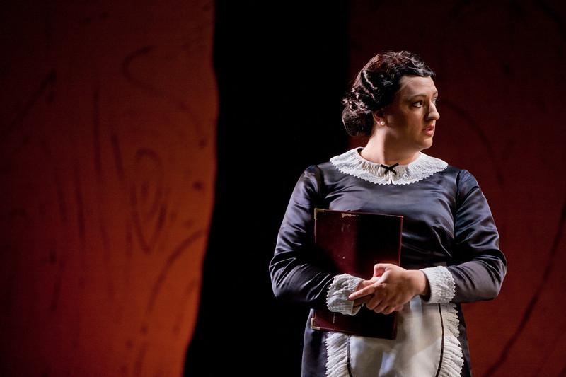 Soprano Tasha Koontz is Annina in San Diego Opera's LA TRAVIATA. April, 2017. Photo by J. Katarzyna Woronowicz Johnson.