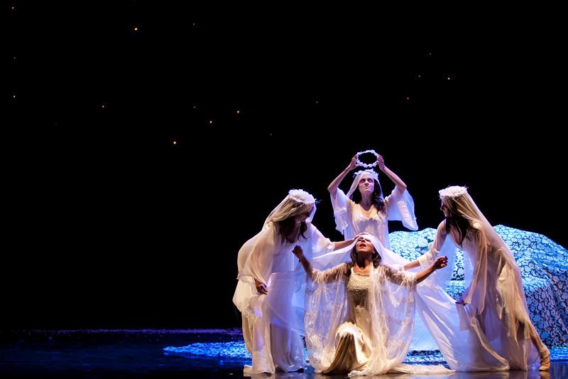 Soprano Corinne Winters is Violetta Valéry, surrounded by dancers, in San Diego Opera's LA TRAVIATA. April, 2017. Photo by J. Katarzyna Woronowicz Johnson.