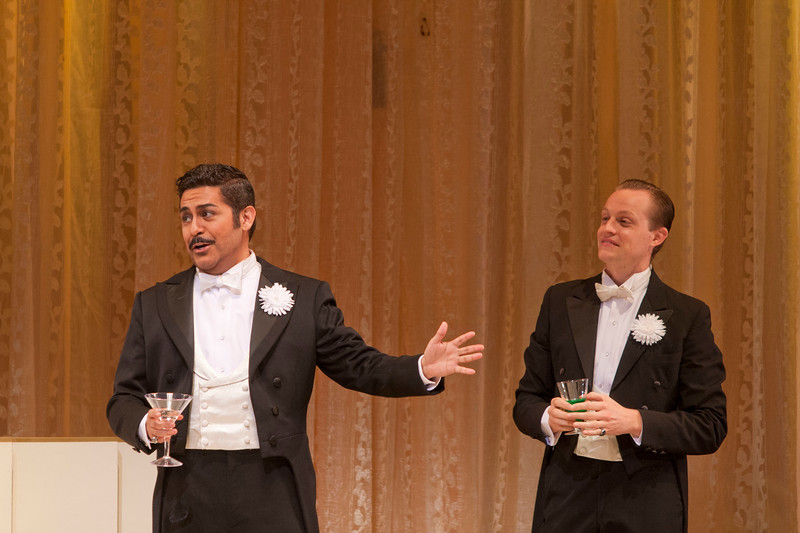 Tenor Jesús Garcia is Alfredo Germont and tenor Brenton Ryan is Gastone in San Diego Opera's LA TRAVIATA. April, 2017. Photo by J. Katarzyna Woronowicz Johnson.