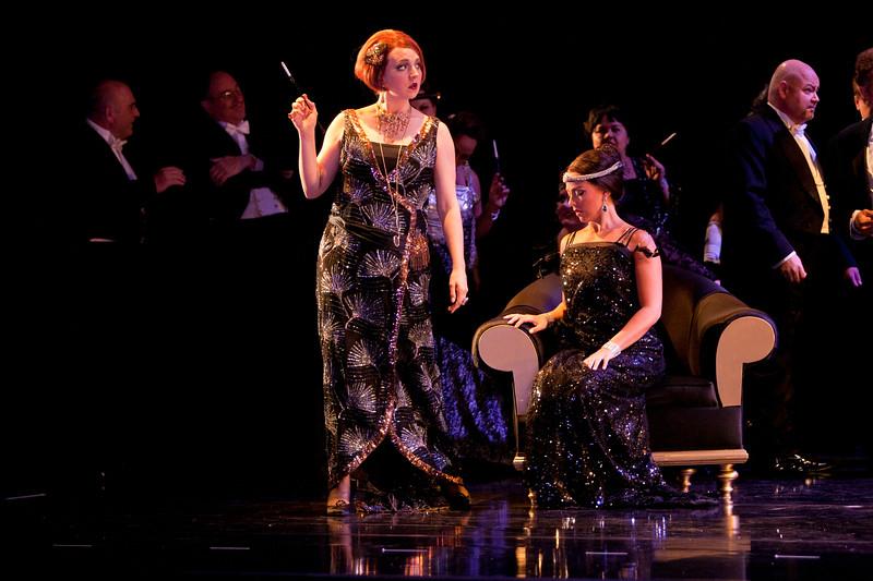 (Standing) Mezzo-soprano Peabody Southwell is Flora Bervoix and soprano Corinne Winters is Violetta Valéry in San Diego Opera's LA TRAVIATA. April, 2017. Photo by J. Katarzyna Woronowicz Johnson.