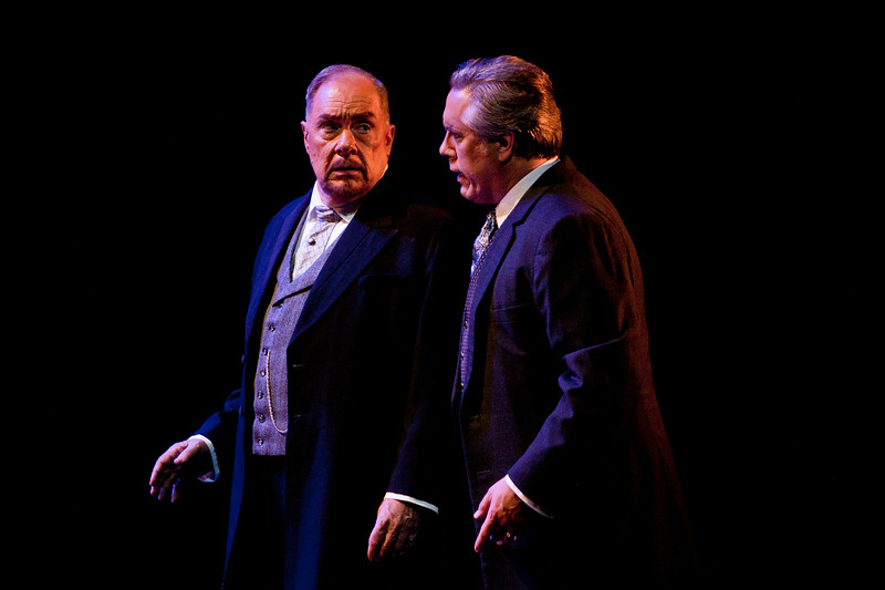 (L-R) Bass Kevin Langan is Dr. Grenvil and baritone Stephen Powell is Giorgio Germont in San Diego Opera's LA TRAVIATA. April, 2017. Photo by J. Katarzyna Woronowicz Johnson.