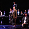 (L-R) Bass Kevin Langan is Dr. Grenvil, soprano Corinne Winters is Violetta Valéry, mezzo-soprano Peabody Southwell is Flora Bervoix, (on table) tenor Brenton Ryan is Gastone, baritone Stephen Powell is Giorgio Germont, (kneeling) tenor Jesús Garcia is Alfredo Germont, and bass baritone Scott Sikon is Marquis D'Obigny in San Diego Opera's LA TRAVIATA. April, 2017. Photo by J. Katarzyna Woronowicz Johnson.