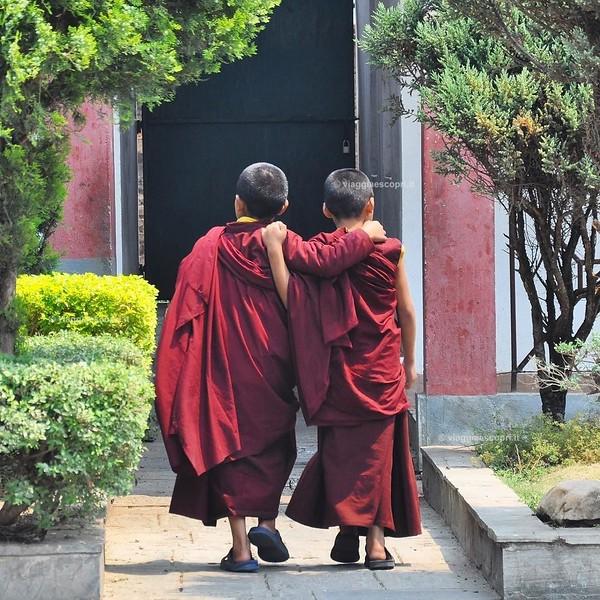 Amici, oltre i confini del mondo! #nepalroutes l'amicizia non ha confini, colore, religione, l'amicizia è una legge universale che qui in #Nepal si vede dietro ogni angolo di strada, perché alle leggi universali nemmeno la cultura può comandare. Monastero