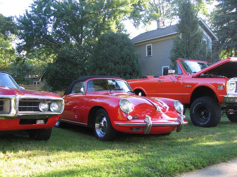 John's Porsche 356, Randy's GTO at left