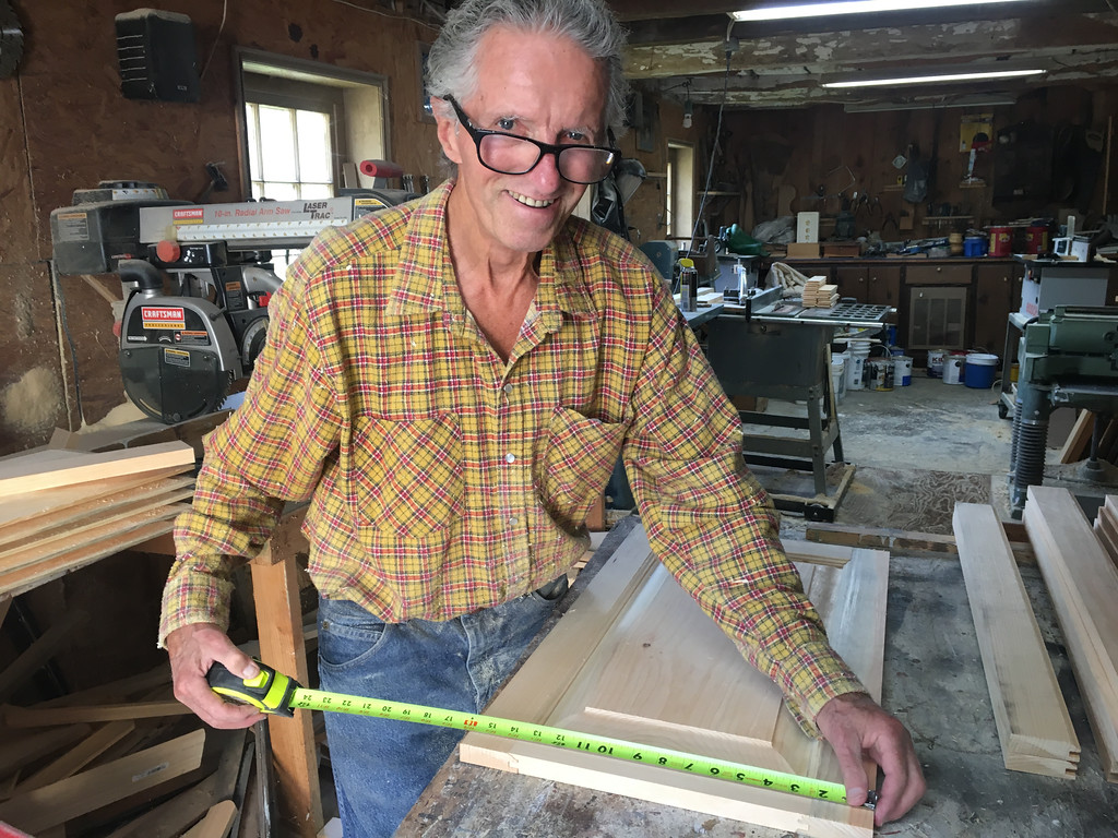 . Very happily retired, Richard MacKay of Billerica could be found in his woodworking shop on Labor Day. Photo by Mary Leach