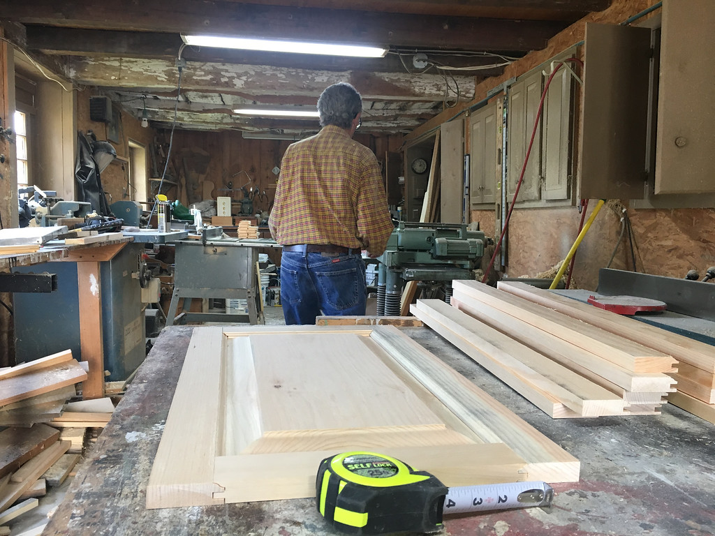 . With one cabinet door made, Richard MacKay has several more to go. Photo by Mary Leach