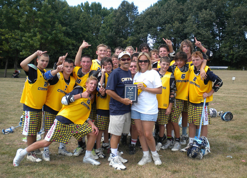 Dixie Poe, CEO of Charles County Hospice, presents championship plaque to Calvert Cannons Select U15 team<br /> July 11, 2010