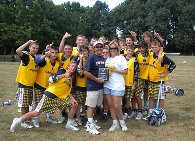Dixie Poe, CEO of Charles County Hospice, presents championship plaque to Calvert Cannons Select U15 team July 11, 2010