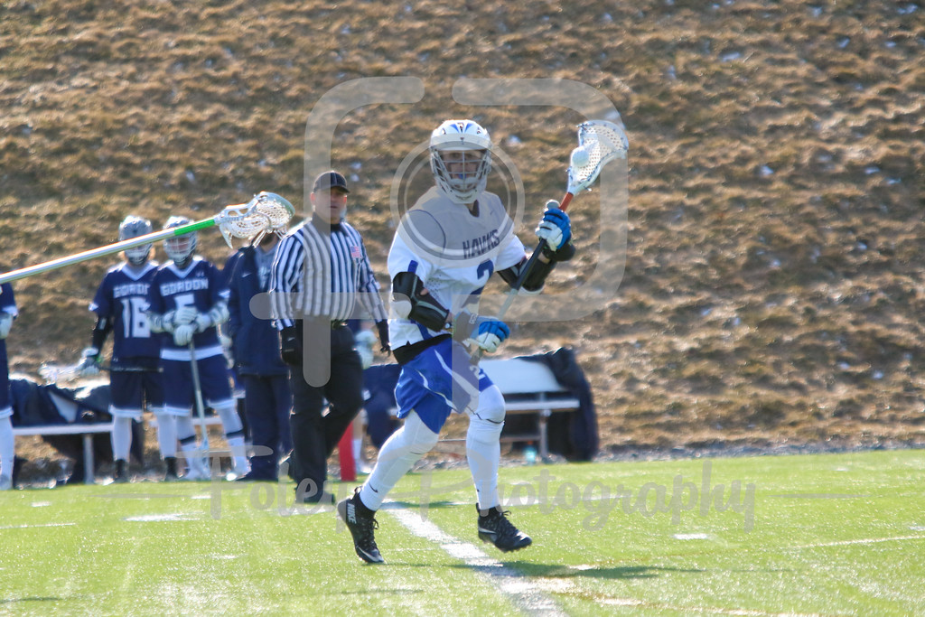 Monday, March 13, 2017; Leicester, MA; Becker College Hawks midfielder Blake Gordon (2) looks to make a play during the Scots 11-5 victory over the Hawks in a non-conference matchup.