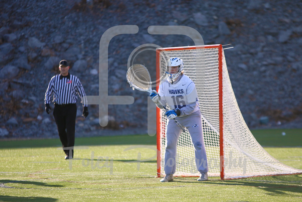 Becker College Hawks goalie Michael Krch (16)