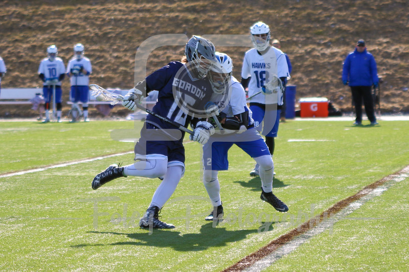 Gordon College Scots Nate Distasio (16) Becker College Hawks midfielder Blake Gordon (2)