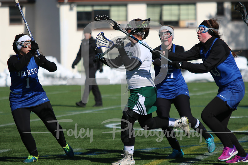 Becker College Hawks defender Jordyn Martel (1) Becker College Hawks midfielder Meghan Bealka (5) Becker College Hawks midfielder Marissa Turner (23)