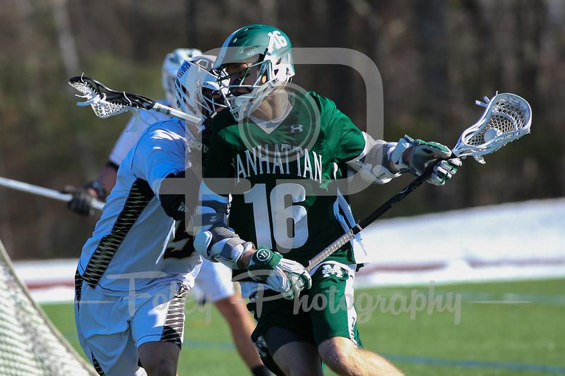 Manhattan Jaspers Luke Hanson (16) Bryant Bulldogs Nick Hallmark (5)