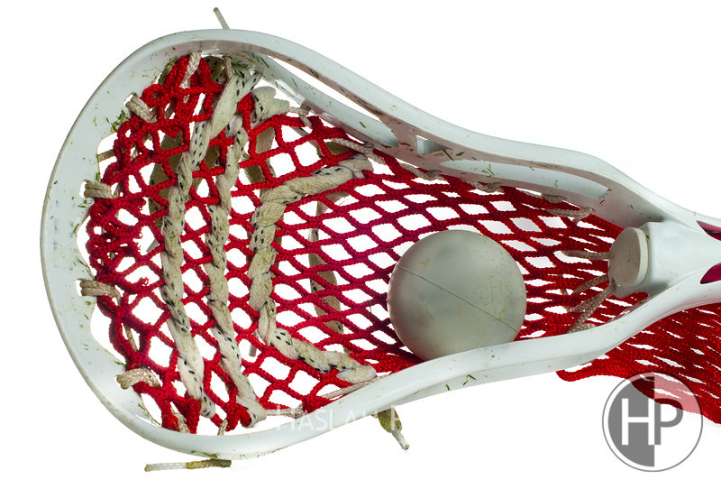 White Lacrosse Head with Red Meshing and Grey Ball