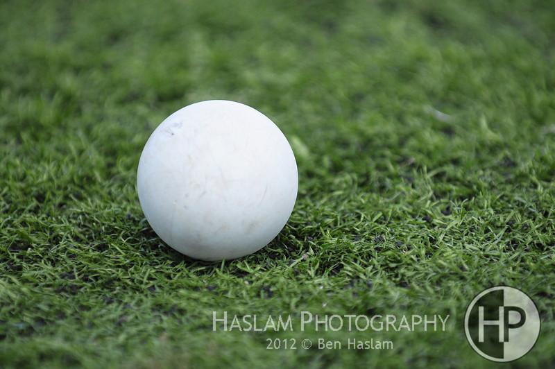 Single grey lacrosse ball on green grass