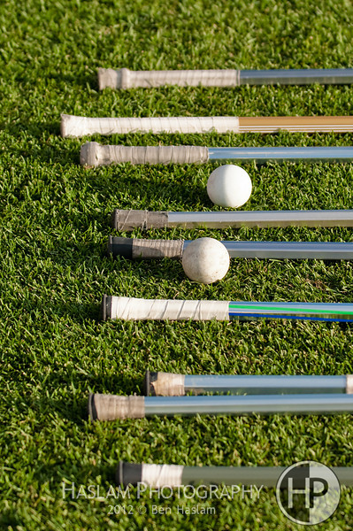 Nine lacrosse sticks laying on the ground with two balls.