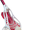 A red lacrosse stick with a white head and red netting along with a gray ball