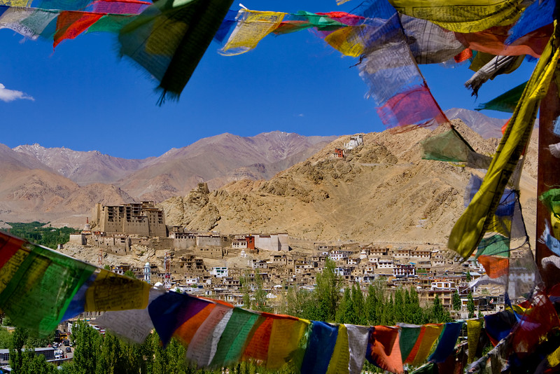 The old Leh Palace. Namgyal Tsemo Gompa in the background.