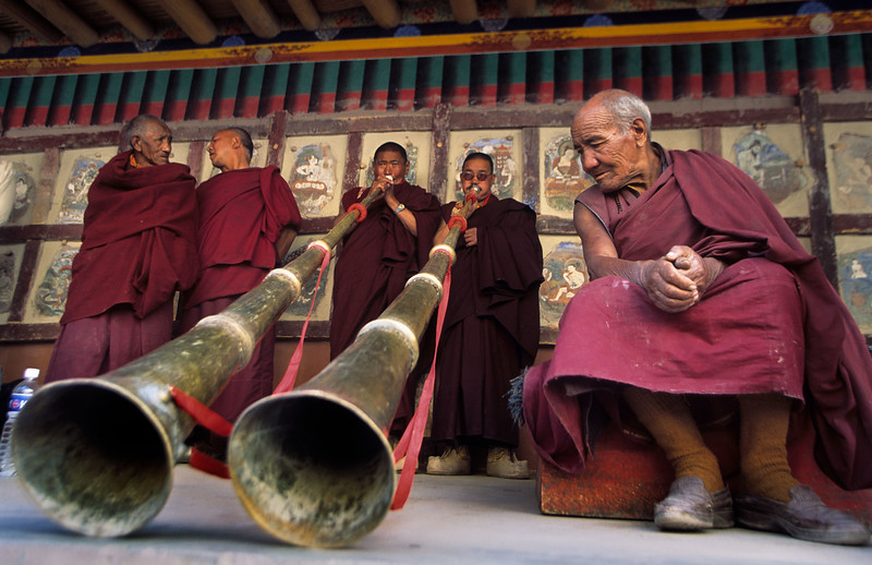 Monks preparing for the the Hemis Tsechu. Hemis Monastery.