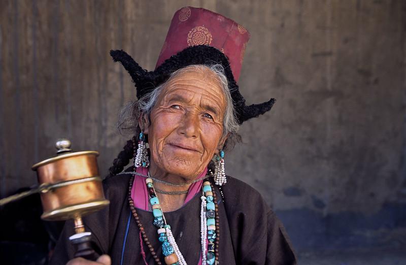Lady attending the Hemis Tsechu. Hemis Monastery.