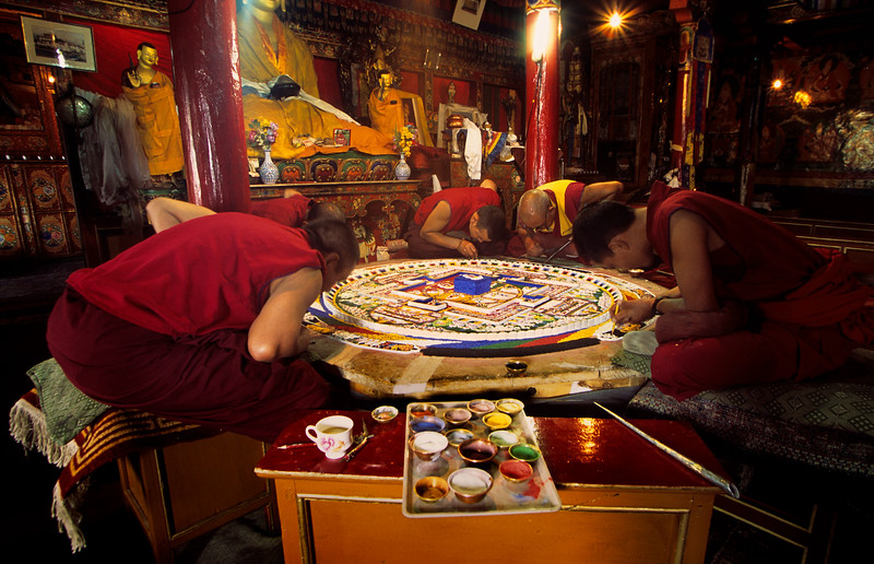 Monks making a sand mandala. Spituk Monastery just outside Leh.