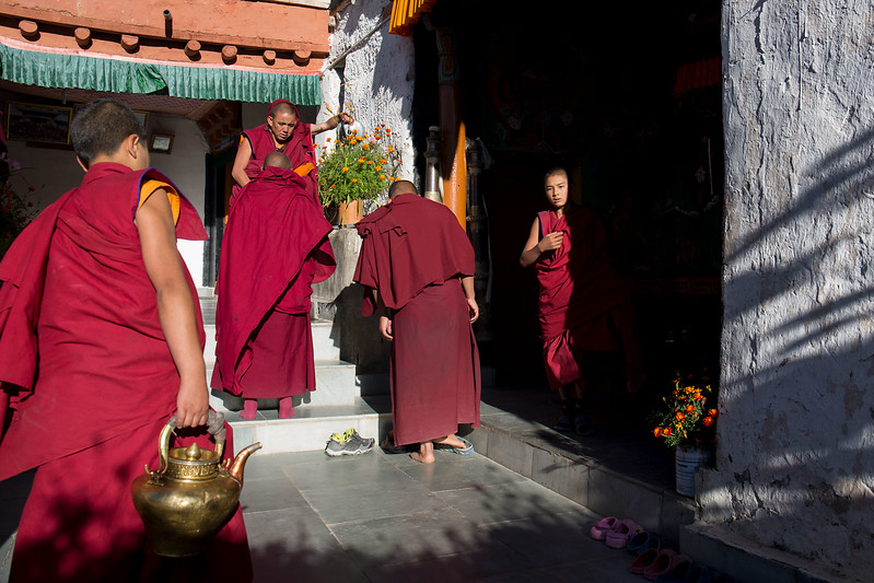 Likir Monastery, after the morning ceremony.