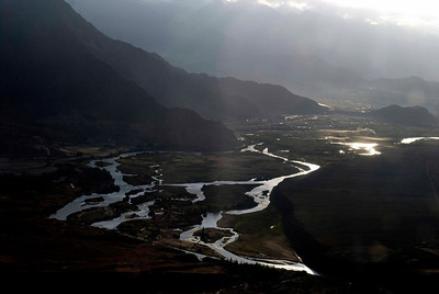 Indus valley from the air sunrise