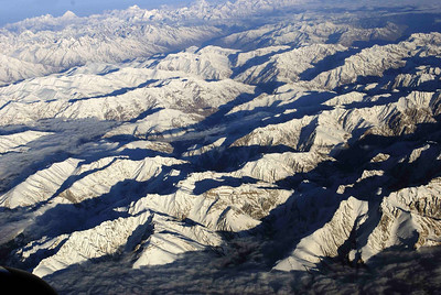HImalayas from the Delhi to Leh flight - Karakoram peaks in the distance