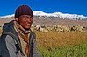 Larkyang, a shepherd, with his flock at Tso Moriri