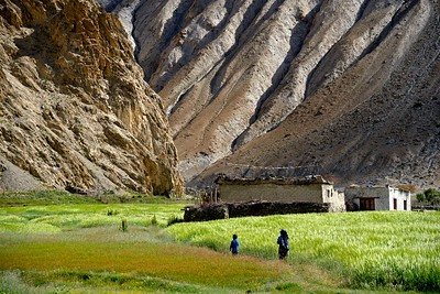 School children return home in the late afternoon in Hankar village