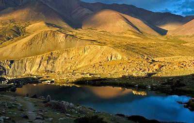 Evening light at Lake Camp below Kangyatse