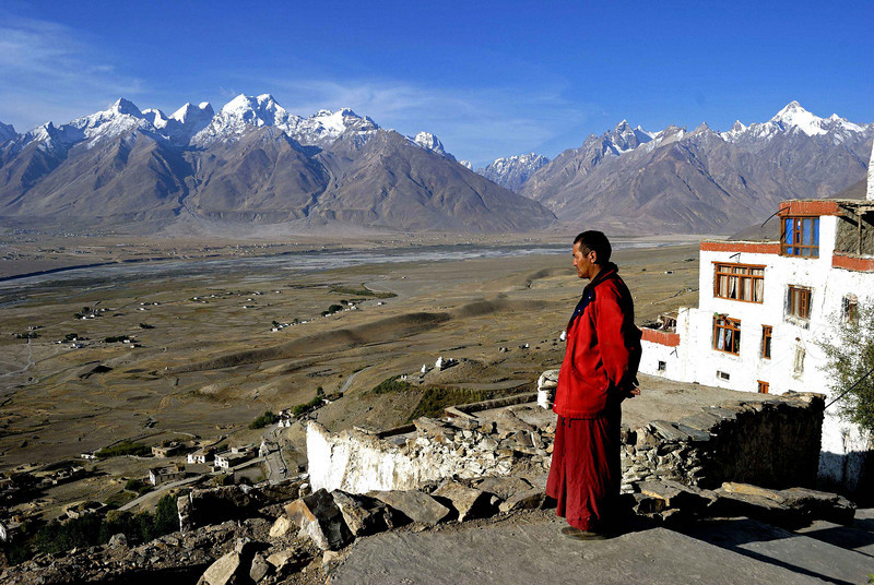 Karsha monastery sits on a hill top and overlooks the central Zanskar plain