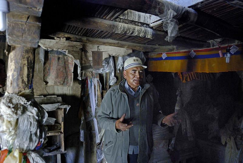 The present King of Zangla, Gyialses Nima Norboo Namgyal  inside the ruins of the Zangla fort