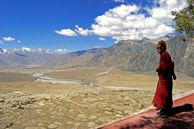 View over the central Zanskar plain from the monastery of Stongdey.  The Zanskar river and the town of Padum can be seen in the distance below the snow capped peaks.