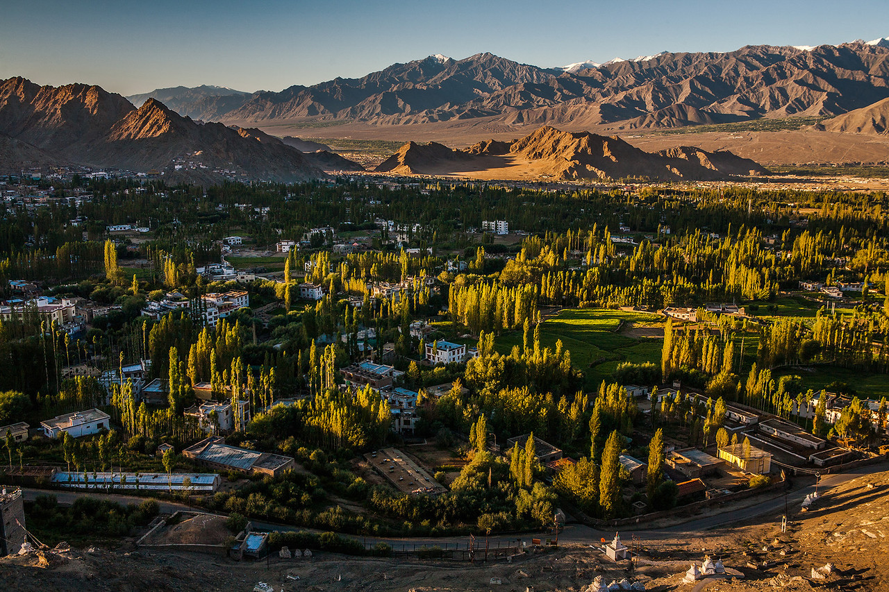 Aerial view of Leh from Shanti Stupa in Ladakh, India