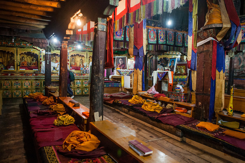 Inside the Thiksey monastery in Ladakh, India