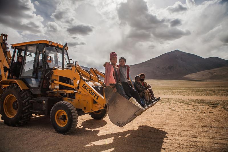 Bulldozer ride near Tso Moriri, Ladakh, India