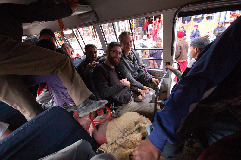 Emilie, Yann and Jochen cram into the local bus to Hemis