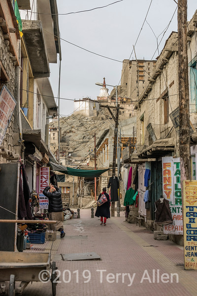 View down alley towards Leh Palace, Leh, Ladakh