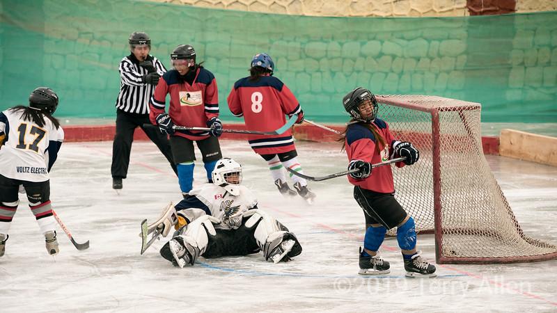 Puck in the net, Ladakh women's hockey team, 5th Hai Hockey Championship, Leh, Ladakh