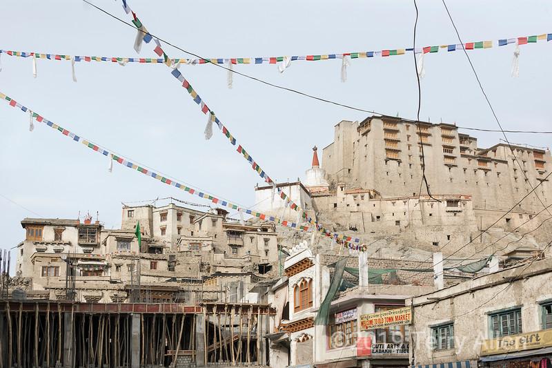 Bazaar Road and Leh Palace, horizontal Leh, Ladakh