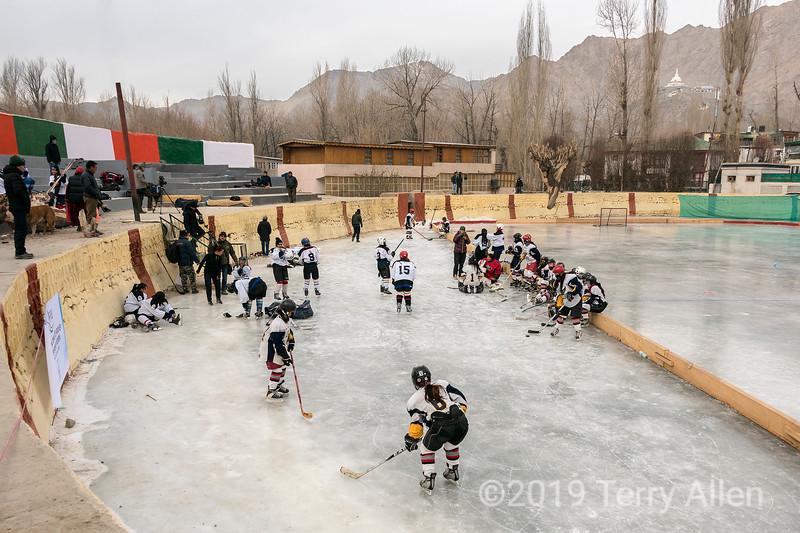 Ladakh women getting ready for championship hockey game against Delhi, Leh, Ladakh