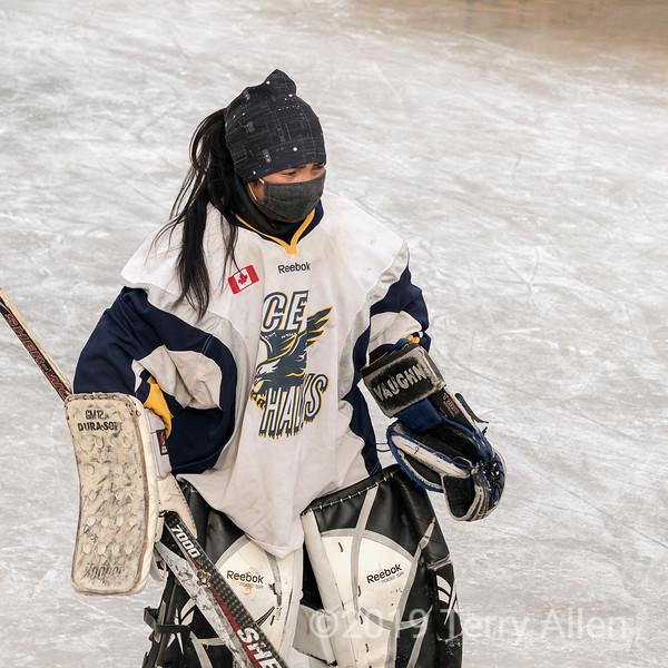Portrait of a woman goalie, 2018 Ladakh-Delhi championship game, outdoor ice rink, Leh, Ladakh