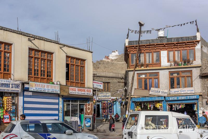 Looking up towards Red Maitreya temple from the Leh Bazaar, Leh, Ladakh