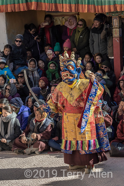 Cham dance wrathful god (god of death, Yama) character, Gustor festival, Spituk Gompa, Leh, Ladakh